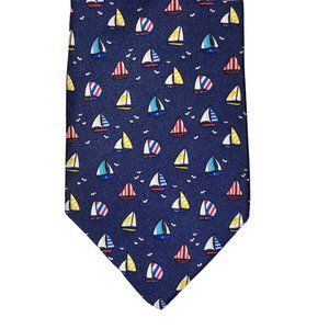 Designer Silk Tie Blue Sailboats Boating